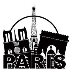 Paris City Skyline Silhouette Circle Black and White Illustratio