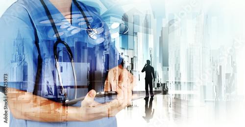 Leinwandbild Motiv Double exposure of image abstract hospital city as medical conce