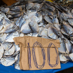 Dried fish on the market in Thailand