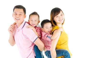 Studio portrait of beautiful asian family