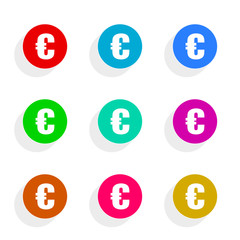 euro flat icon vector set