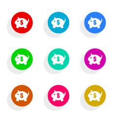 piggy bank flat icon vector set