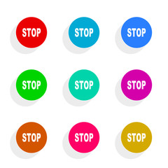 stop flat icon vector set