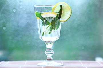 homemade lemonade lemon mint ice in a glass
