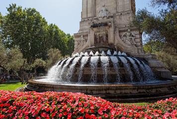 Madrid - fountain and Cervantes Monument at Plaza Espana