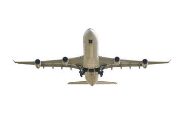 big jet plane taking off on white background