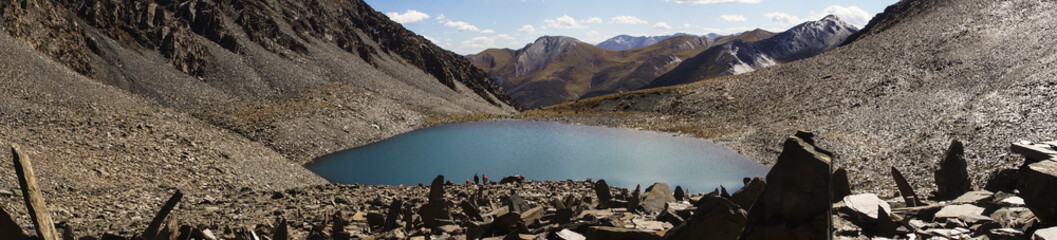 Panorama about holy lake in Tibet