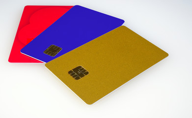 color plastic card with chips