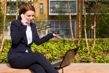 young business woman having a conversation on the phone.