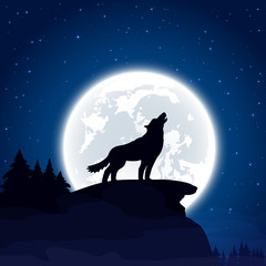 Wolf on Moon background