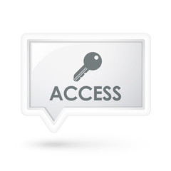 access word with key icon on a speech bubble