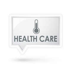 health care with thermometer icon on a speech bubble
