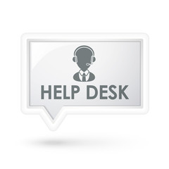help desk with service icon on a speech bubble