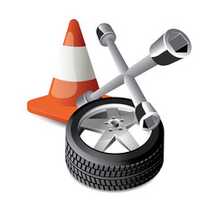 road cone, cross wrench, wheel