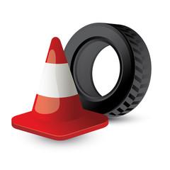 road cone, tire