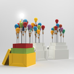 pencil light bulb 3d as think outside of the box and leadership