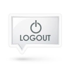 logout icon on a speech bubble