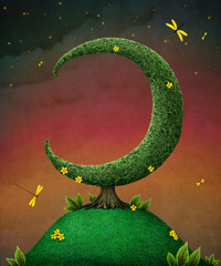 Card or illustration with  tree in the shape of moon