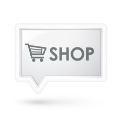 shop word with cart icon on a speech bubble