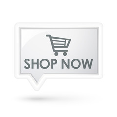 shop now with cart icon on a speech bubble