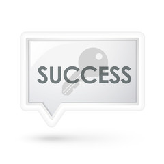 success word with key icon on a speech bubble