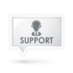 support word with service icon on a speech bubble