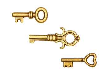 Golden key isolated on white