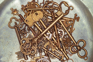 Golden keys on iron plate