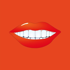 Mund auf rot