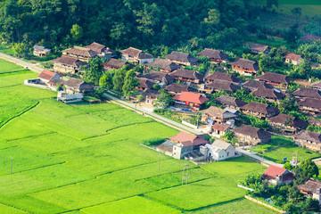 village in valley in Bac Son, Vietnam.