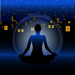 meditation stadt bei nacht