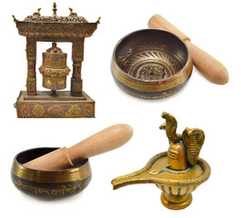 Buddhist and Indian religious objects isolated