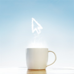 Сoffee cup with Mouse arrow cursor symbol