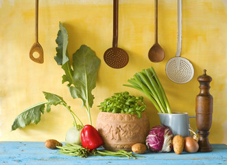 various vegetables and kitchen utensils, cooking concept