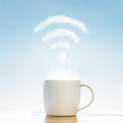 Coffee cup with wifi cloud © Alex