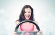 Funny girl with car wheel and smoke