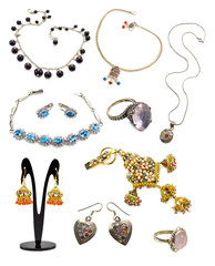 Set with jewelry collection isolated
