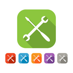 Color set of flat crossed tools icon