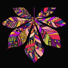 Decorative leaves Chestnut - Vector silhouette.