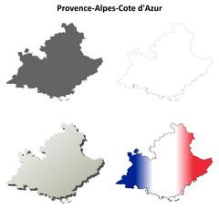 Provence-Alpes-Cote d'Azur blank detailed outline map set