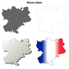 Rhone-Alpes blank detailed outline map set
