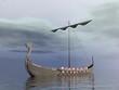 Leinwanddruck Bild - Viking drakkar - 3D render