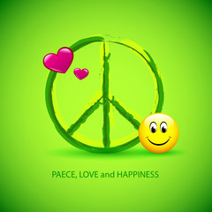 love peace happiness grün