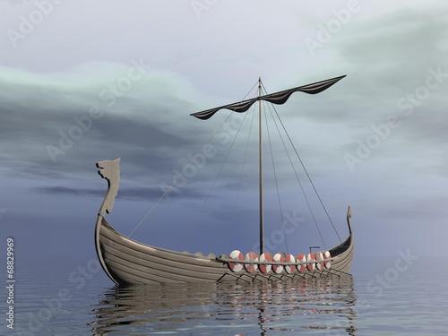 Leinwanddruck Bild Viking drakkar - 3D render