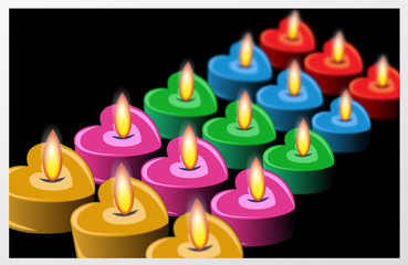 heart and colorful candles with photo effect