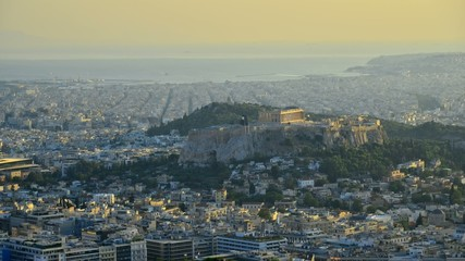 Acropolis Athens Greece timelapse at sunset