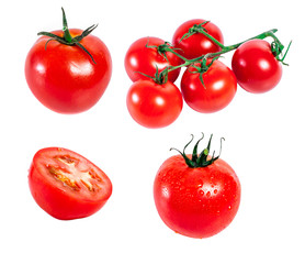 Collection of tomatoes with isolated white background