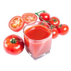 Tomato Juice and Fresh tomatoes on white background