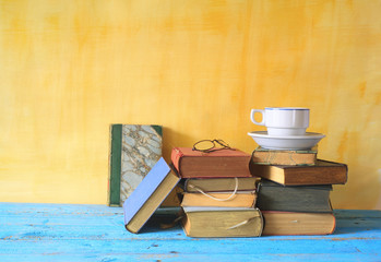 vintage books and a cup of coffee, free copy space