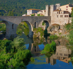 Medieval town with bridge. Besalu, Catalonia, Spain